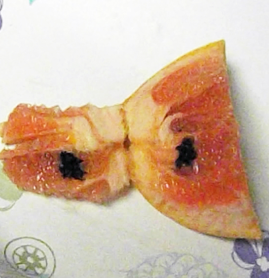 Looks like some kind of black mold inside a grapefruit section. The skin had no blemish.